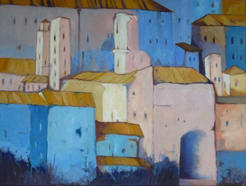 Anne Petschuch, Bergdorf in Italien IV, Architektur, Diverse Bauten, Impressionismus