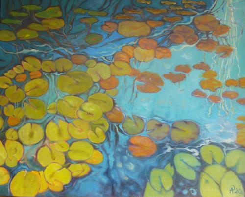 Anne Petschuch, Seerosen XII, Pflanzen, Natur: Wasser, Impressionismus