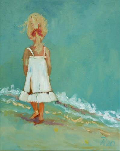 Anne Petschuch, Mädchen am Strand, Menschen: Kinder, Landschaft: See/Meer, Impressionismus, Expressionismus