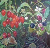 Anne-Petschuch-Pflanzen-Pflanzen-Fruechte-Moderne-Impressionismus-Neo-Impressionismus