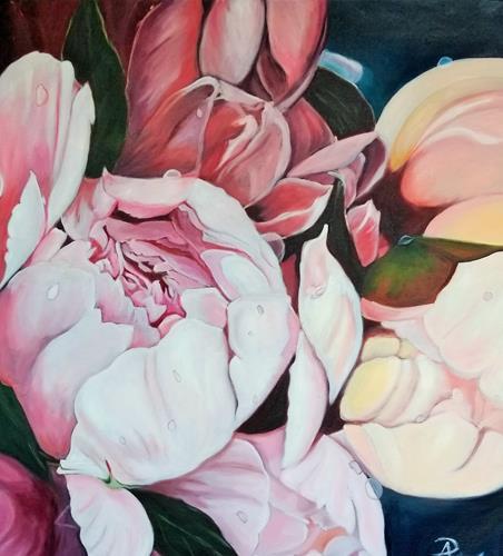 Anne Petschuch, Pfingstrosen II, Pflanzen, Pflanzen: Blumen, Impressionismus, Expressionismus