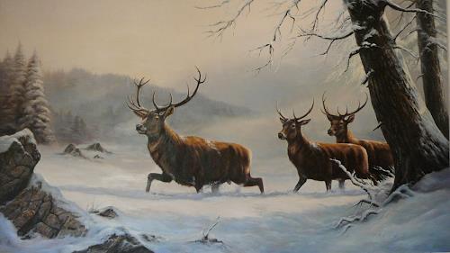 Antonio Molina, Hirsche im Schnee, Jagd, Tiere: Land