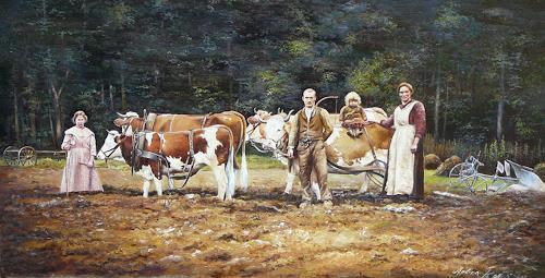 Antonio Molina, Bauernfamilie mit Rinder Gespann, Arbeitswelt, Gesellschaft, Naturalismus