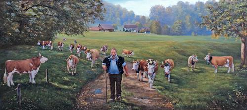 Antonio Molina, Auf zur punktierung, Landschaft: Herbst, Tiere: Land, Naturalismus, Expressionismus