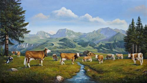Antonio Molina, Alp mit Gantrisch, Landschaft: Berge, Tiere: Land, Expressionismus