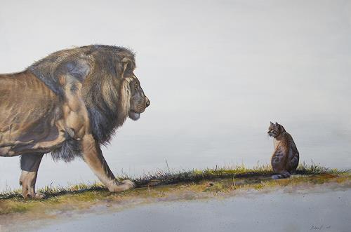 Antonio Molina, Die Begegnung zweier Katzen, Tiere: Land, Skurril, Expressionismus