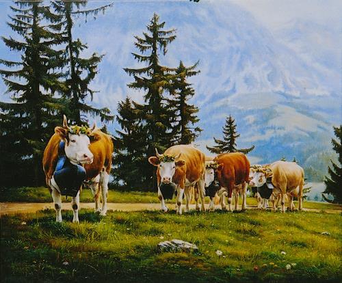Antonio Molina, Die  Leitkuh, Landschaft: Berge, Tiere: Land