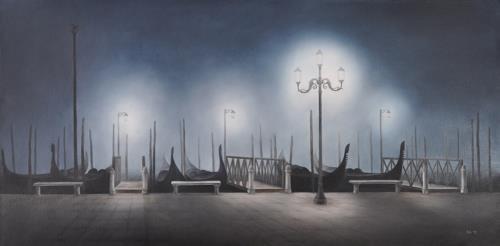 Edmont Kies, Gondeln bei Nacht, Diverse Romantik, Naturalismus
