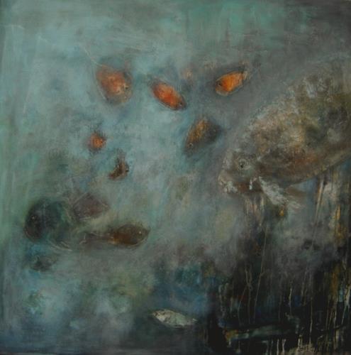 silvia messerli, deep silence, Mythologie, Tiere: Wasser, expressiver Realismus, Abstrakter Expressionismus