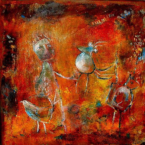 silvia messerli, Ich habe einen Vogel, Fantasie, Tiere: Luft, Gegenwartskunst, Abstrakter Expressionismus