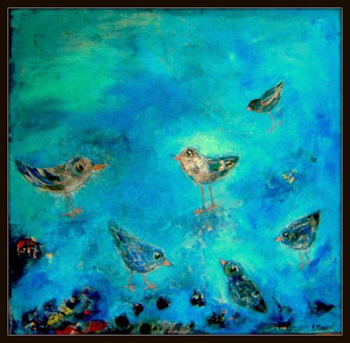 silvia messerli, blu birds, Diverse Tiere, Fantasie, Gegenwartskunst