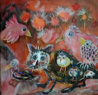 silvia-messerli-Fantasie-Diverse-Tiere-Moderne-Abstrakte-Kunst-Art-Brut