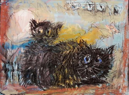 silvia messerli, Katzenpaar, Tiere: Land, Fantasie, Art Brut