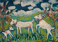 silvia-messerli-Tiere-Land-Landschaft-Berge-Moderne-Naive-Kunst