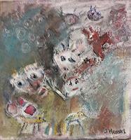 silvia-messerli-Menschen-Gruppe-Tiere-Land-Moderne-Abstrakte-Kunst-Art-Brut