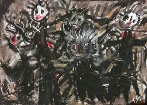 silvia messerli, nachts im Walde..., Gefühle: Angst, Mythologie, Art Brut, Abstrakter Expressionismus