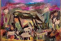 silvia-messerli-Tiere-Land-Landschaft-Berge-Moderne-Abstrakte-Kunst-Art-Brut