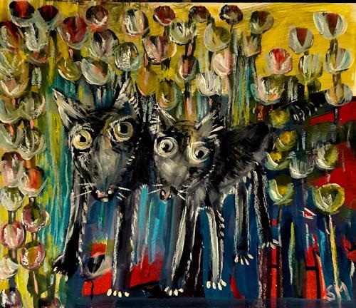 silvia messerli, zwei freunde, Gefühle: Liebe, Tiere: Land, Art Brut, Abstrakter Expressionismus