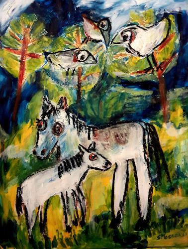 silvia messerli, Frühlingserwachen , Pferde im Jura, Gefühle: Freude, Tiere: Land, Art Brut, Expressionismus