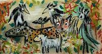 silvia-messerli-Landschaft-Fruehling-Diverse-Tiere-Moderne-Abstrakte-Kunst-Art-Brut