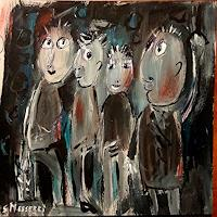 silvia-messerli-Menschen-Gruppe-Bewegung-Moderne-Abstrakte-Kunst-Art-Brut