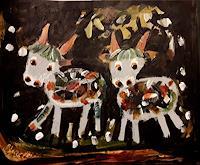 silvia-messerli-Natur-Diverse-Tiere-Land-Moderne-Abstrakte-Kunst-Art-Brut
