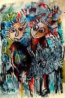 silvia-messerli-Menschen-Paare-Tiere-Land-Moderne-Abstrakte-Kunst-Art-Brut