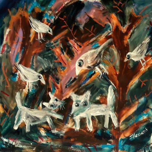 silvia messerli, Nachts im Wald, Natur: Wald, Diverse Tiere, Art Brut, Abstrakter Expressionismus