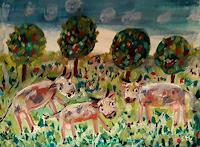silvia-messerli-Tiere-Land-Landschaft-Fruehling-Moderne-Abstrakte-Kunst-Art-Brut