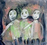 silvia-messerli-Menschen-Gruppe-Gefuehle-Freude-Moderne-Abstrakte-Kunst-Art-Brut