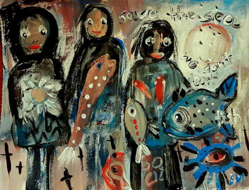 silvia messerli, save the sea, Gefühle: Angst, Gefühle: Trauer, Gegenwartskunst, Abstrakter Expressionismus