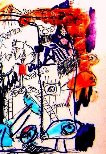 silvia messerli, alte Zeichnung, Fantasie, Abstraktes, Gegenwartskunst, Abstrakter Expressionismus