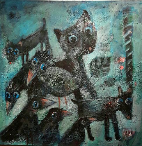 silvia messerli, la belle et ses amis, Diverse Tiere, Gefühle: Freude, Gegenwartskunst, Abstrakter Expressionismus