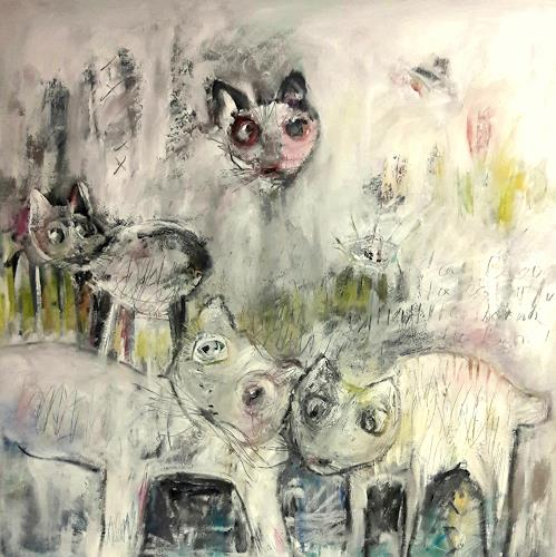 silvia messerli, i gatti, Tiere: Land, Natur: Erde, Gegenwartskunst, Abstrakter Expressionismus