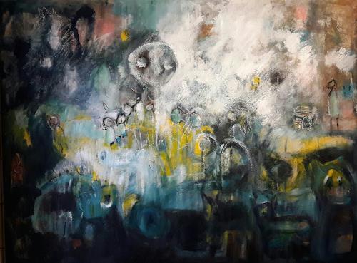silvia messerli, la lune , Grossformat, Fantasie, Gefühle: Geborgenheit, Gegenwartskunst, Abstrakter Expressionismus
