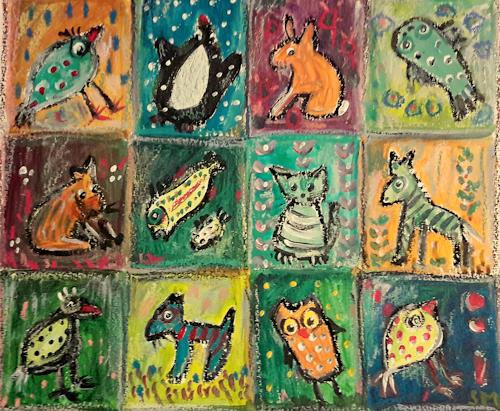 silvia messerli, Mini Galerie, Diverse Tiere, Diverses, Art Brut, Expressionismus