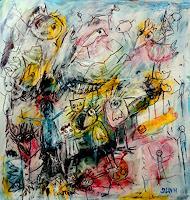 silvia-messerli-Diverse-Tiere-Menschen-Gruppe-Moderne-Abstrakte-Kunst-Art-Brut