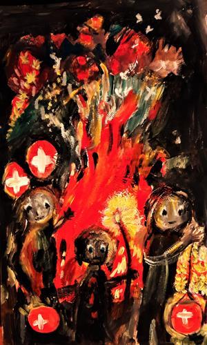 silvia messerli, 1. August ( Ch Nationalfeiertag ), Menschen: Gruppe, Natur: Feuer, Gegenwartskunst