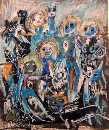 silvia messerli, Zusammenhalten, Gefühle: Geborgenheit, Menschen: Gruppe, Gegenwartskunst, Abstrakter Expressionismus