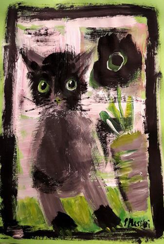 silvia messerli, Katze, Tiere: Land, Gefühle: Freude, Gegenwartskunst, Expressionismus