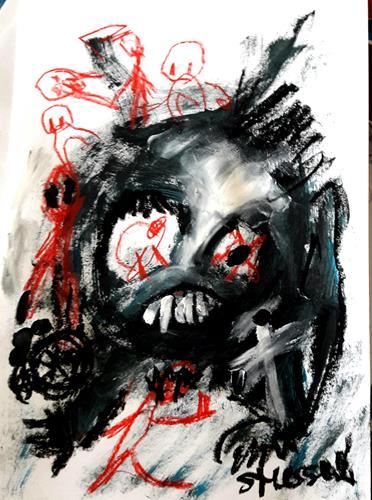 silvia messerli, er wartet, Skurril, Diverses, Art Brut, Abstrakter Expressionismus