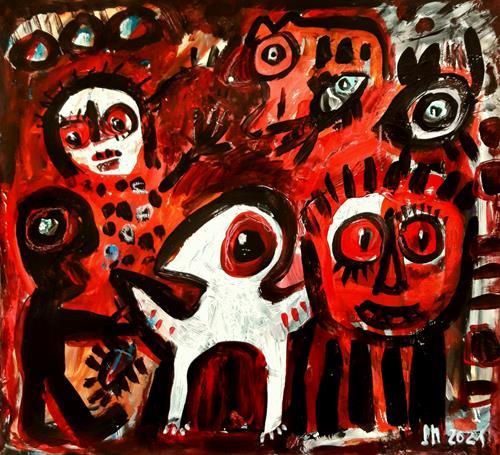 silvia messerli, komm mit, Skurril, Fantasie, Art Brut, Abstrakter Expressionismus