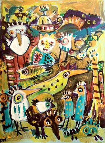 silvia messerli, jenseits ist es auch bunt .., Diverse Gefühle, Fantasie, Art Brut, Expressionismus