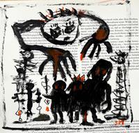 silvia-messerli-Menschen-Gruppe-Fantasie-Moderne-Abstrakte-Kunst-Art-Brut
