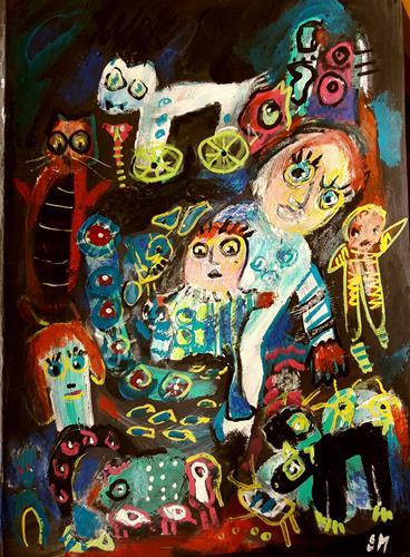 silvia messerli, :-):-):-), Fantasie, Gefühle: Freude, Art Brut, Abstrakter Expressionismus
