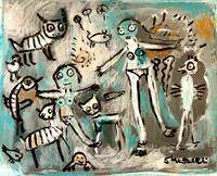 silvia-messerli-Diverse-Menschen-Gefuehle-Freude-Moderne-Abstrakte-Kunst-Art-Brut