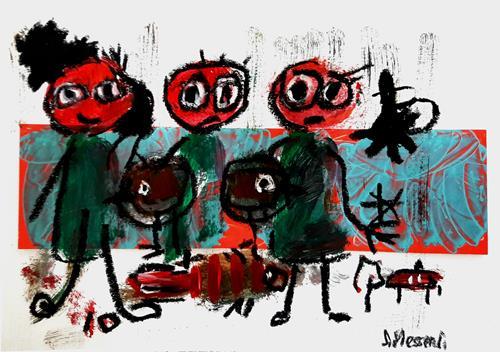 silvia messerli, O.T, Menschen: Gruppe, Fantasie, Art Brut, Abstrakter Expressionismus