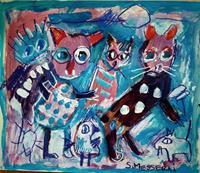 silvia-messerli-Tiere-Land-Diverses-Moderne-Abstrakte-Kunst-Art-Brut