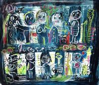 silvia-messerli-Menschen-Gruppe-Diverse-Gefuehle-Moderne-Abstrakte-Kunst-Art-Brut