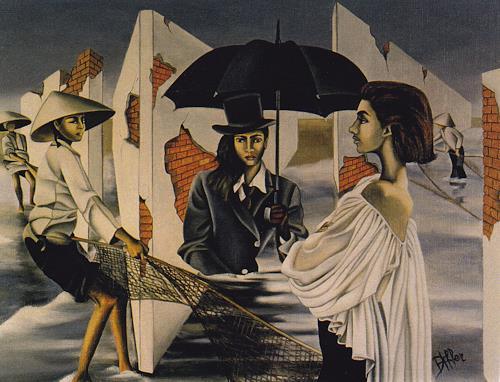 dominique hoffer, LES SERVITEURS DE LA PLUIE, Fantasie, Gegenwartskunst, Abstrakter Expressionismus